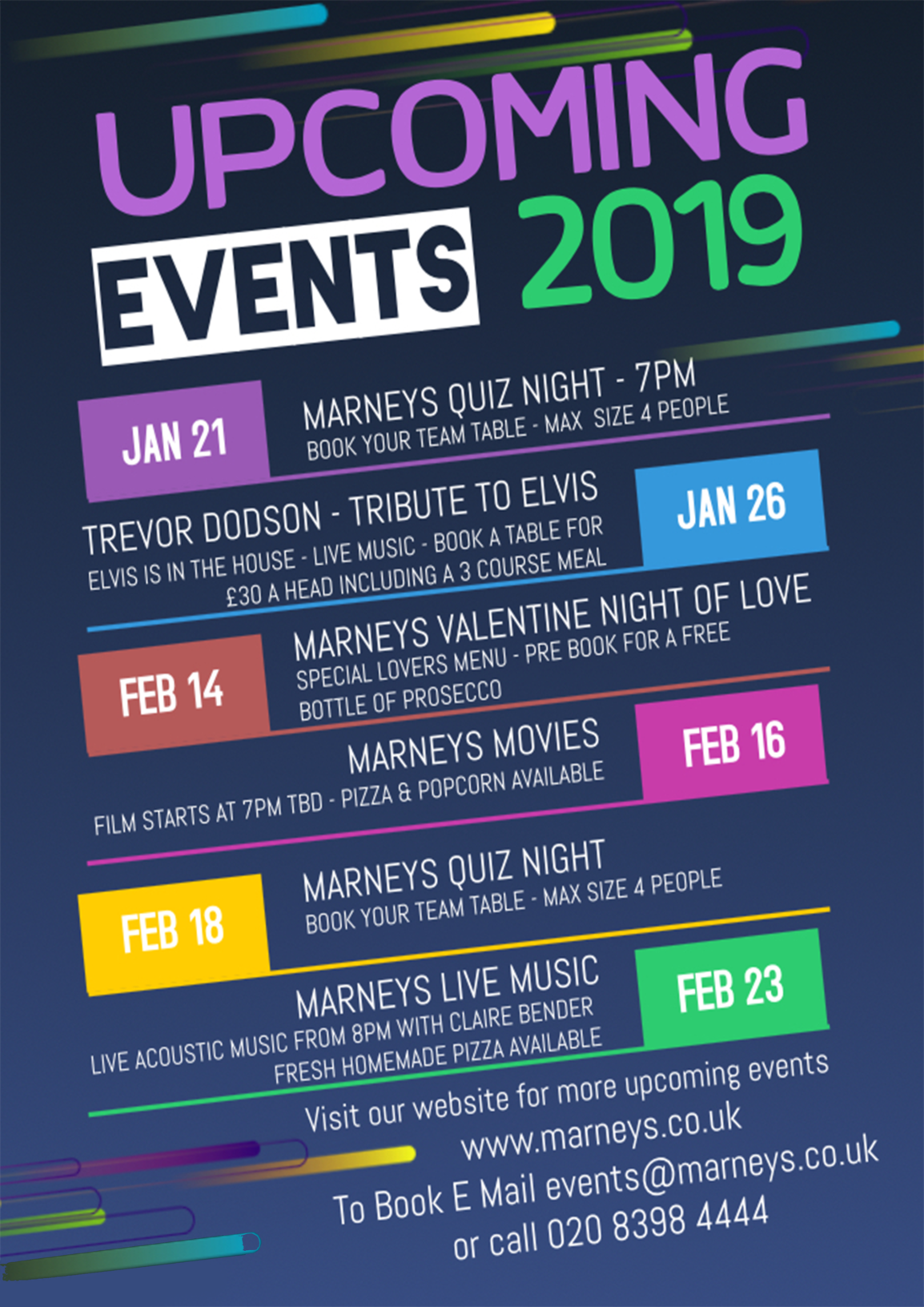 Our Upcoming Events 2019 Marneys Village Inn